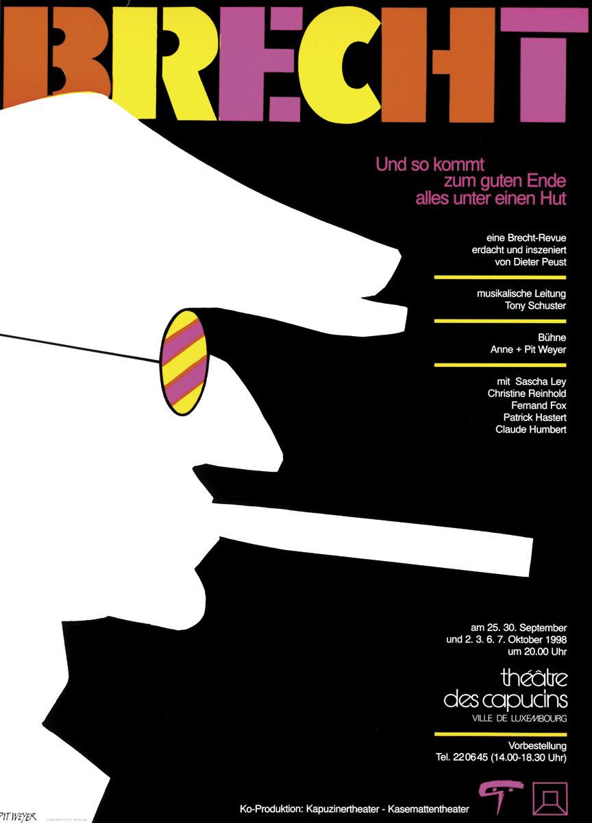 Affiche BRECHT Abend Kasemattentheater Théâtre des Capucins 1998 Pit Weyer