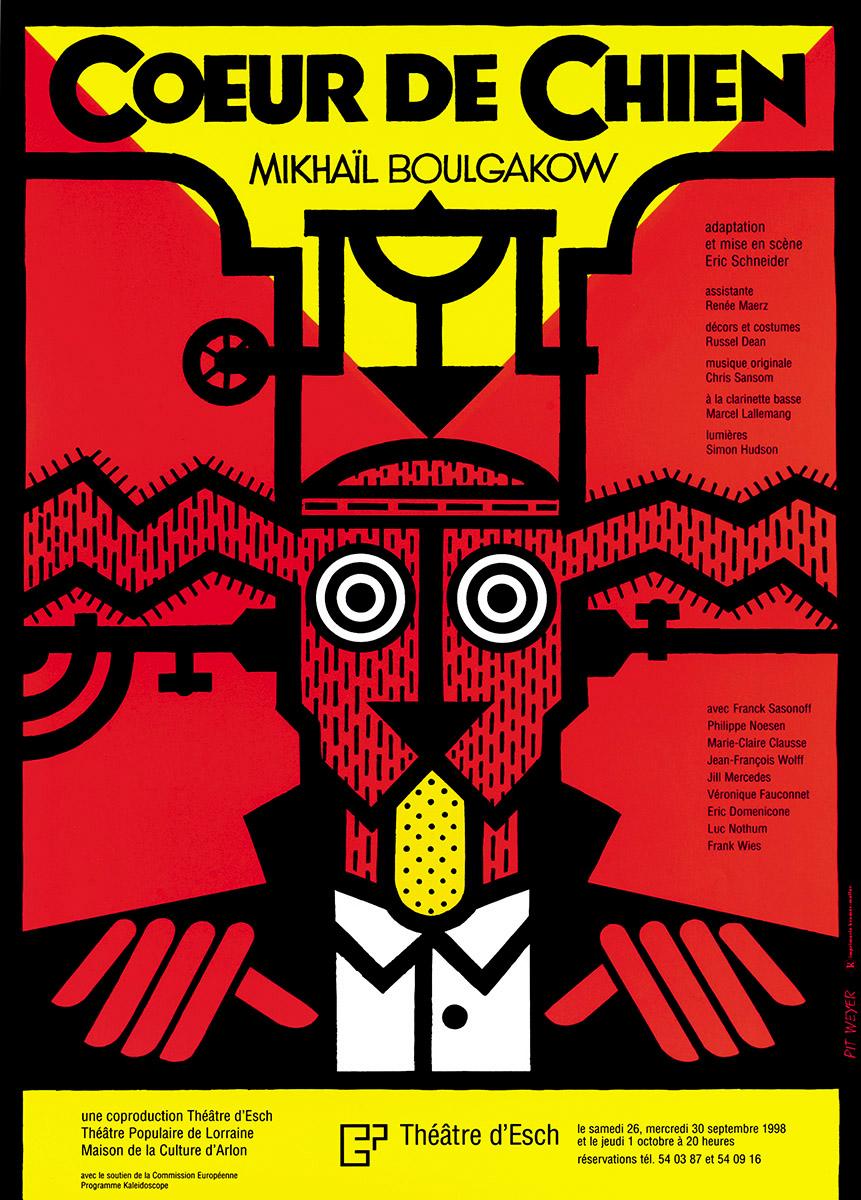 Affiche Coeur de Chien de Mikhaïl Bulgakow Theater Esch 1998 Pit Weyer