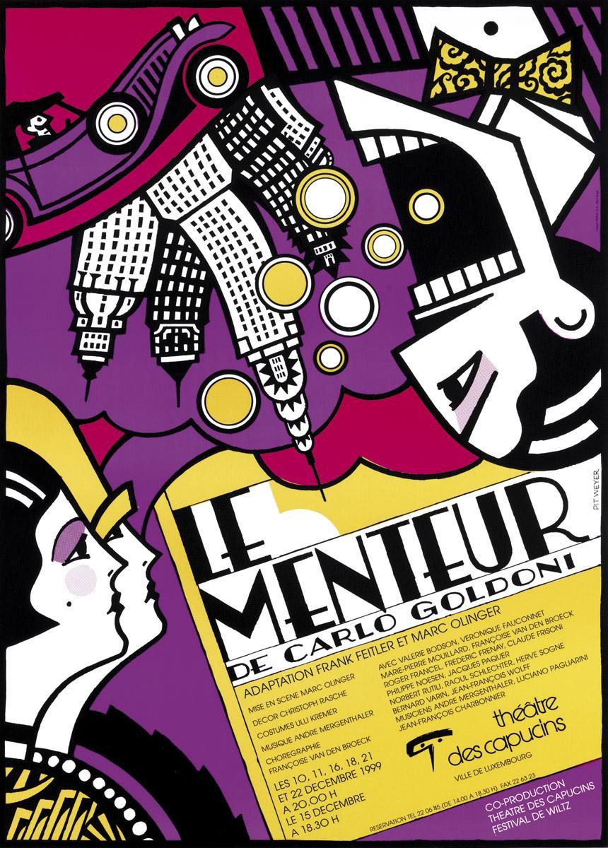 Affiche 1999 Le Menteur de Carlo Goldoni Théâtre des CapucinsPit Weyer