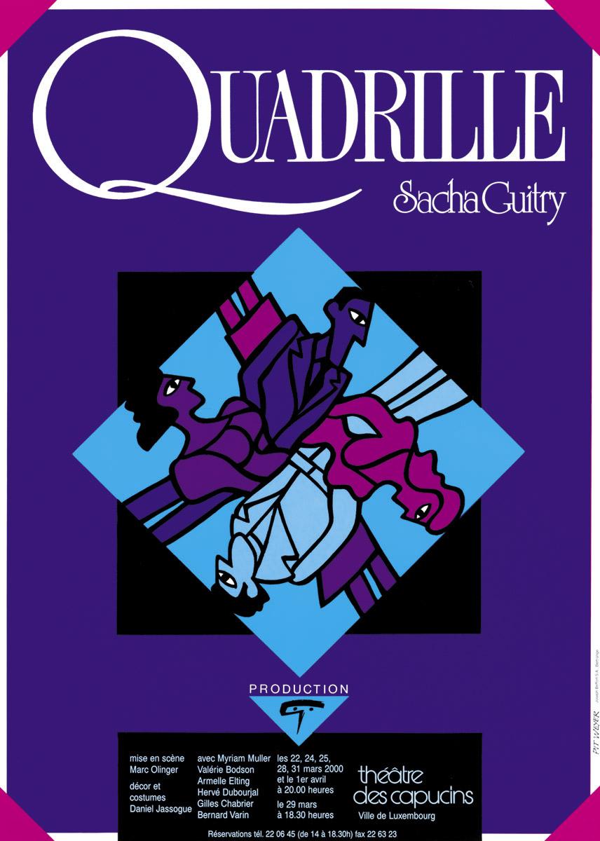 Affiche 2000 Quadrille de Sasha Guitry Théâtre des Capucins Pit Weyer