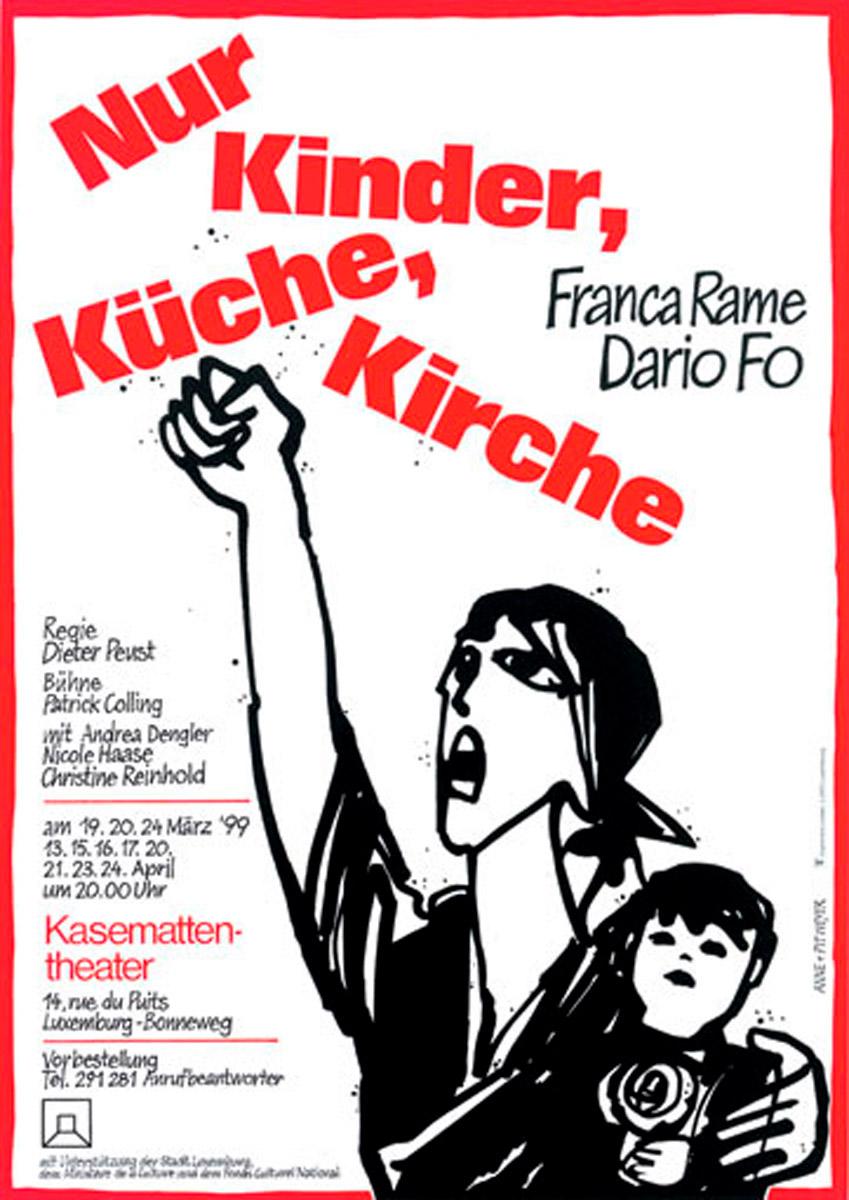 Affiche Kinder Küche Kirche von Dario Fo 1999 Kasemattentheater Pit und Anne Weyer