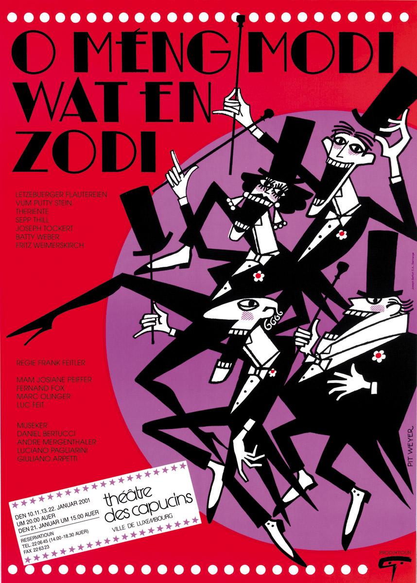 Affiche PlakatWat en Zodi Théâtre des Capucins 2001 Pit Weyer