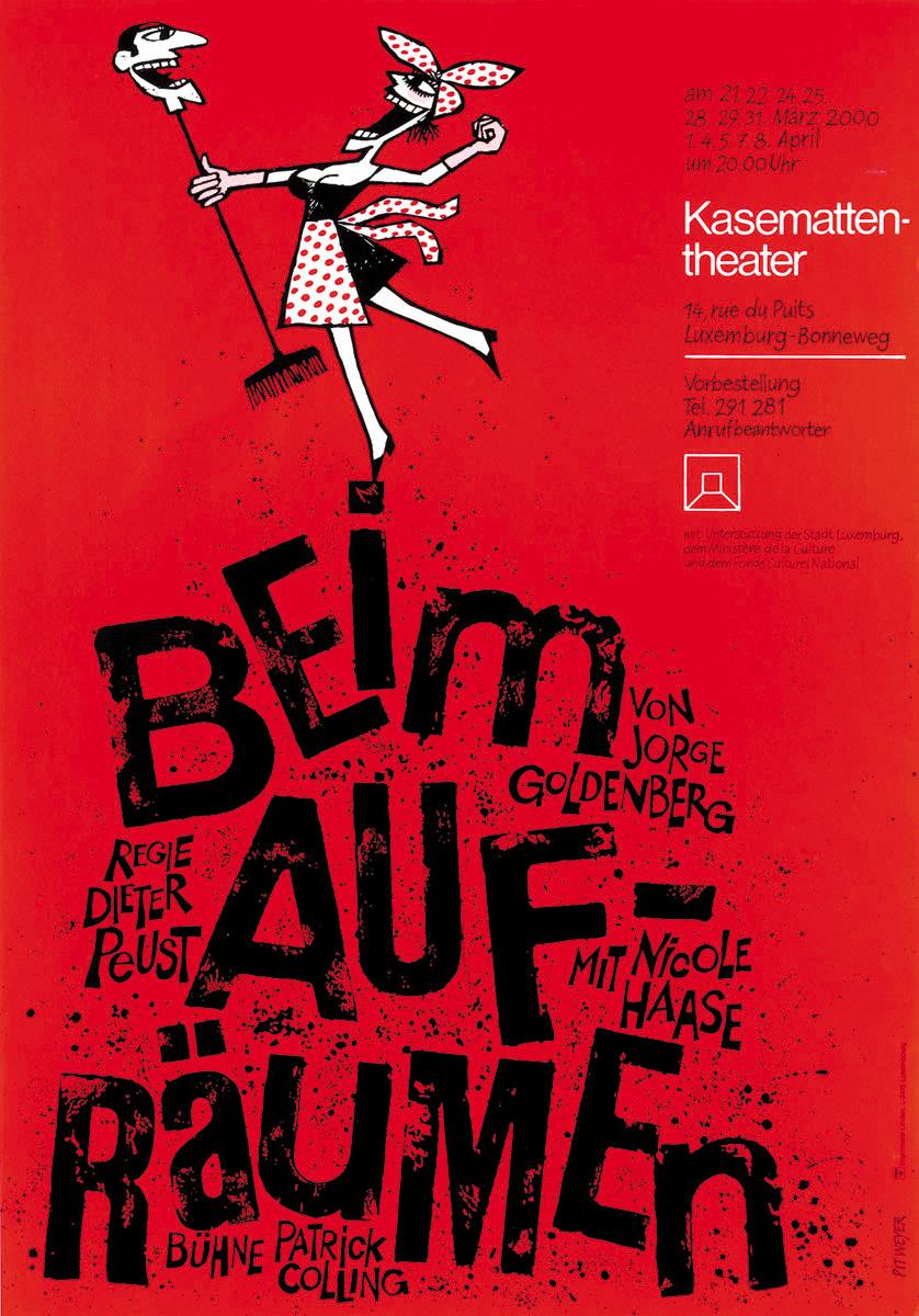 Plakat Kasemattentheater Beim Aufräumen von Jorge Goldenberg 2000 Pit Weyer