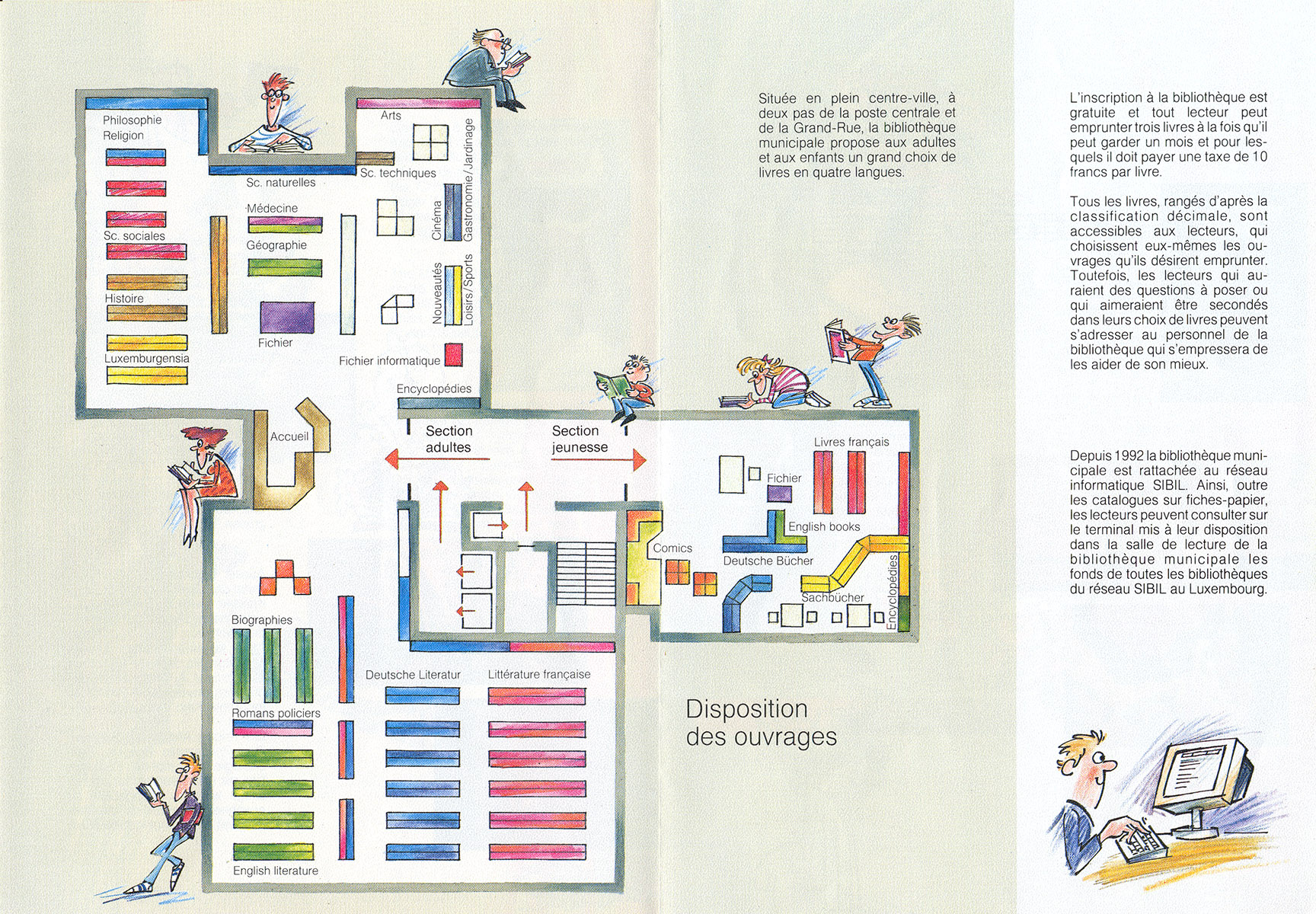 Dépliant Bibliothèque municipale 2001 Lex & Pit Weyer