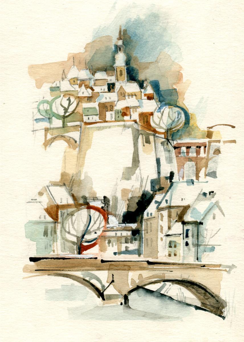 Illustration de Pit Weyer Ville de Luxembourg 2001 Aquarelle