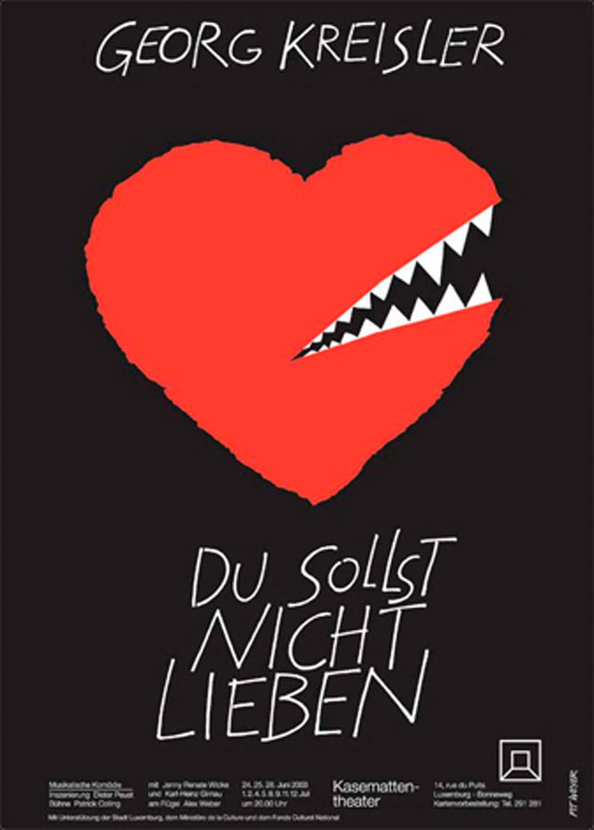 Affiche Kasemattentheater 2003 Du sollst nicht lieben Georg Kreisler Plakat Pit Weyer