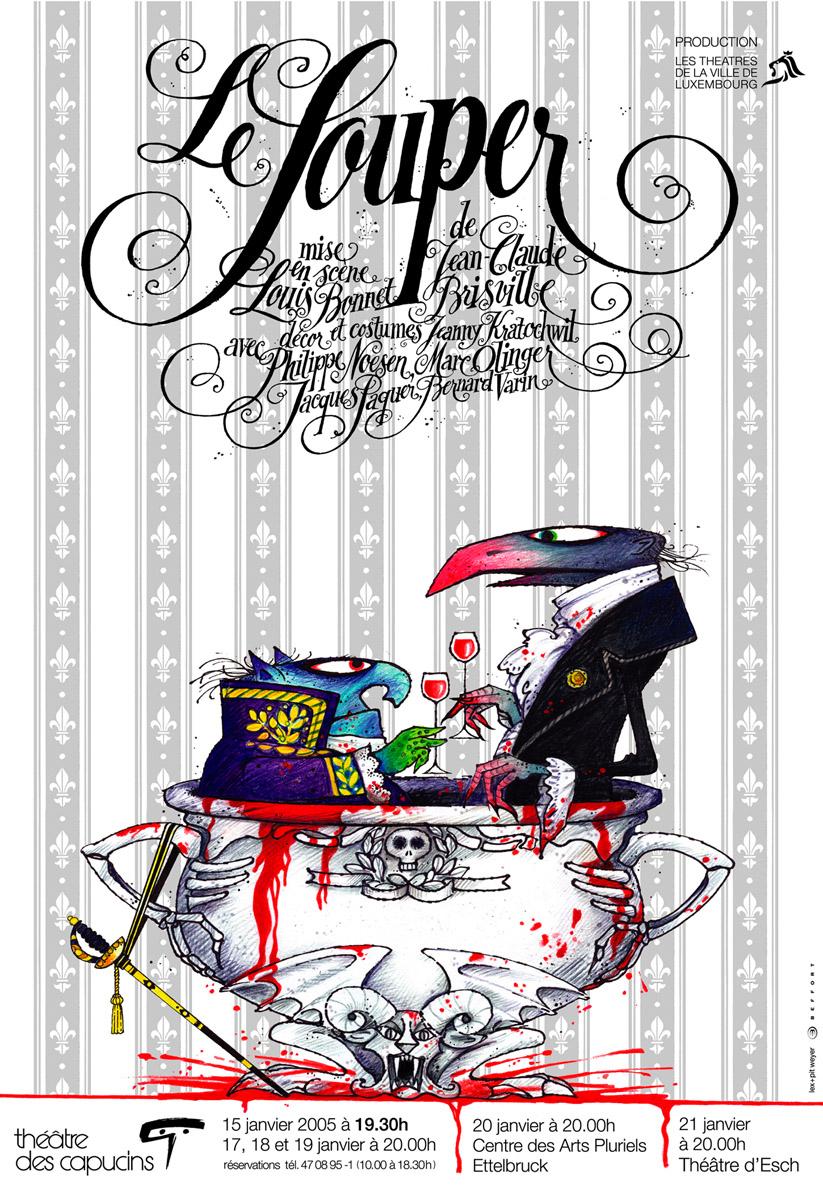 Affiche Plakat Théâtre des Capucins Affiche 2005-Le Souper Pit Weyer