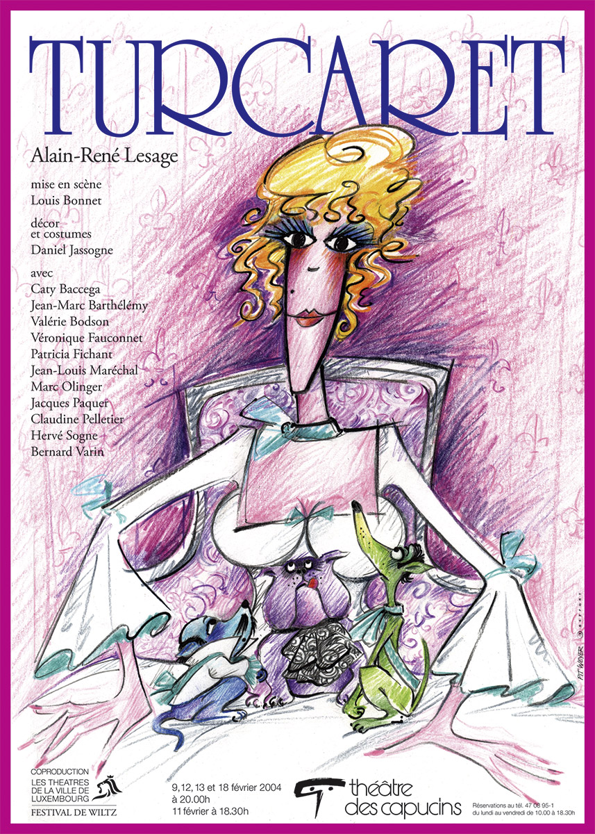 Affiche Plakat Théâtre des Capucins 2004 Turcaret de Alain-René Lesage Plakat Lex & Pit Weyer