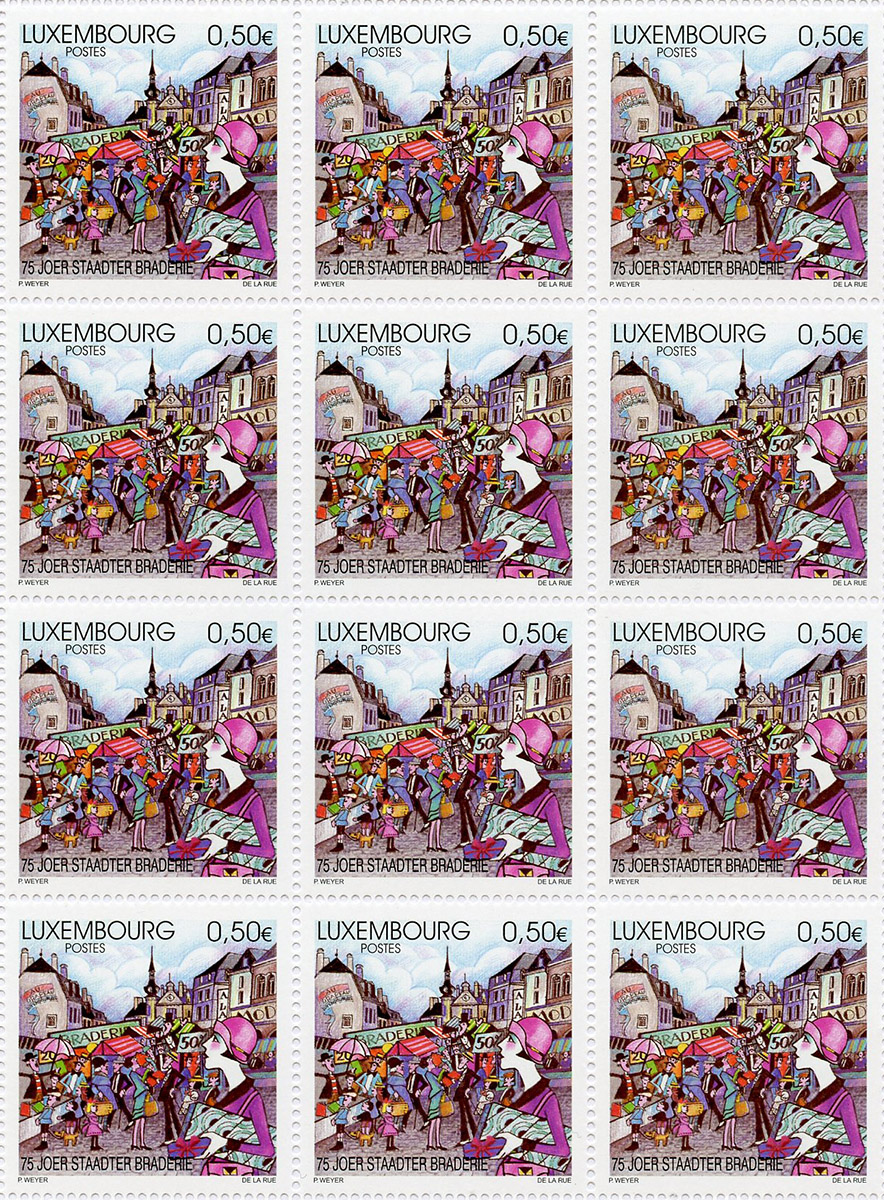 Timbre poste Luxembourg 2004 - 75 Joer Staadter Braderie Pit Weyer