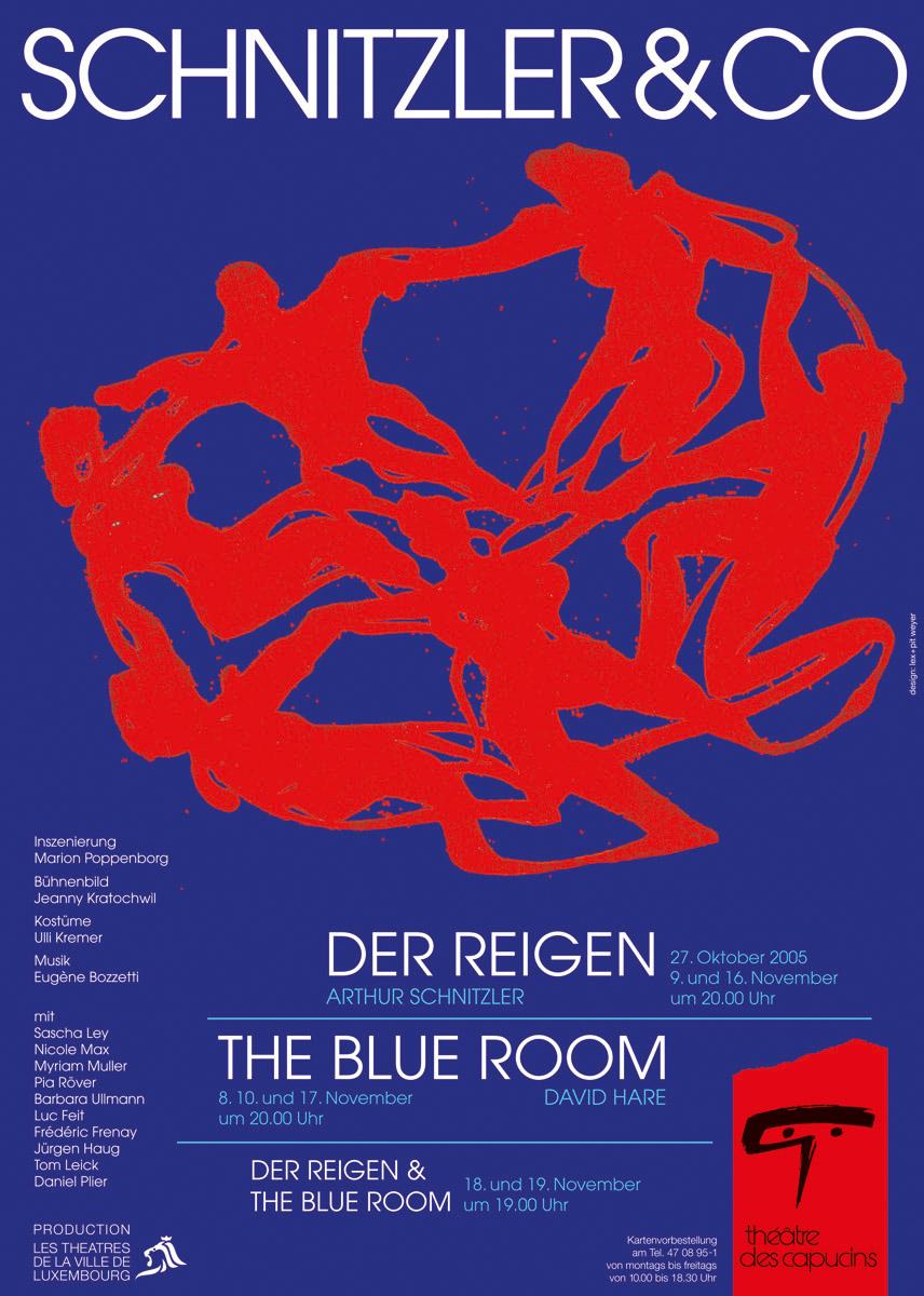 Affiche Théâtre des Capucins 2005 Schnitzler & Co Lex & Pit Weyer Illustration Anne Weyer
