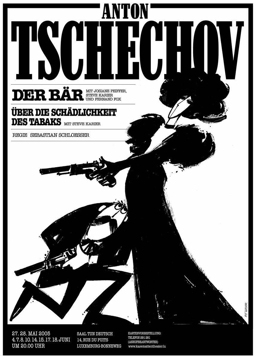 Affiche Plakat Kasemattentheater Pit Weyer Der Bär Tschechov 2005