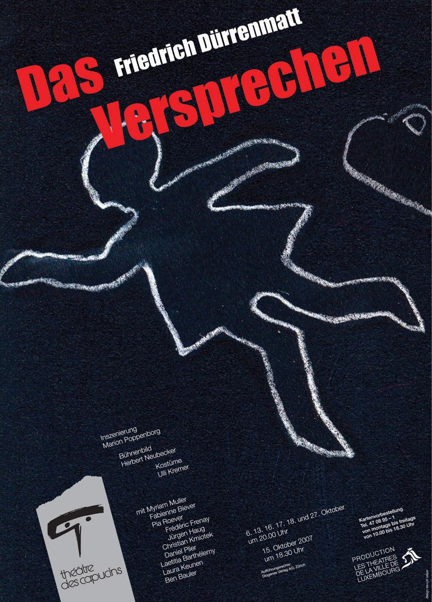 Affiche Plakat Théâtre des Capucins 2007 Das Versprechen von Dürrenmatt Lex & Pit Weyer