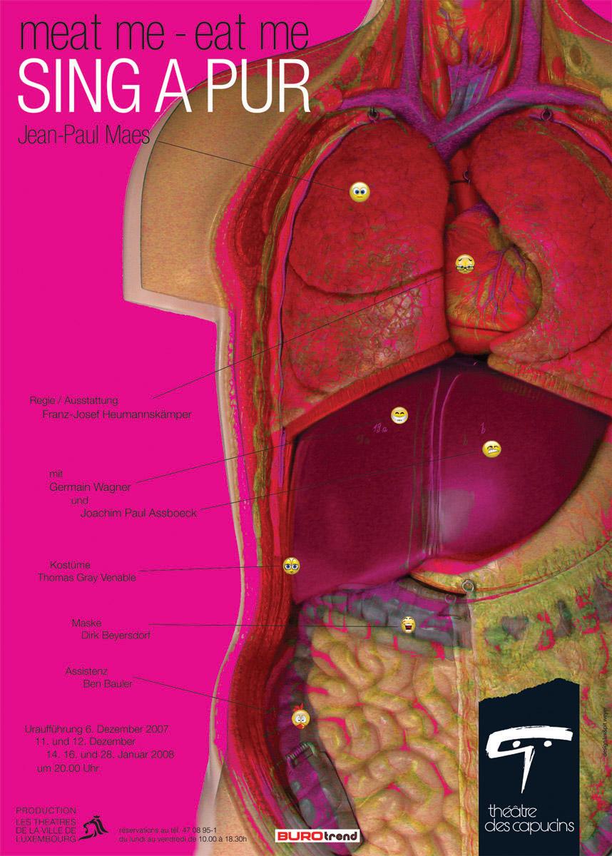 Affiche Plakat Théâtre des Capucins 2007 SINGAPUR von J-P Maes Lex & Pit Weyer