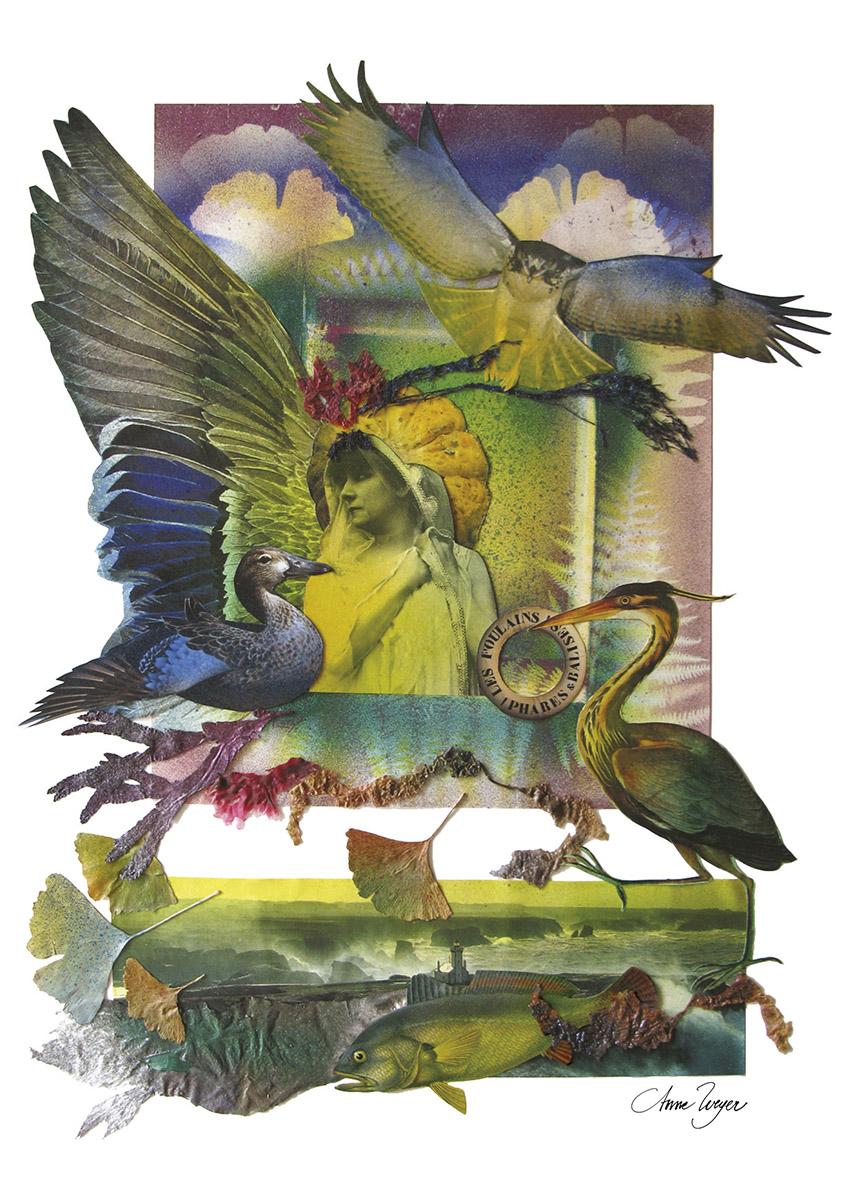 Carte postale A5 - Sarah Bernard - Illustration Collage Anne Weyer 2007