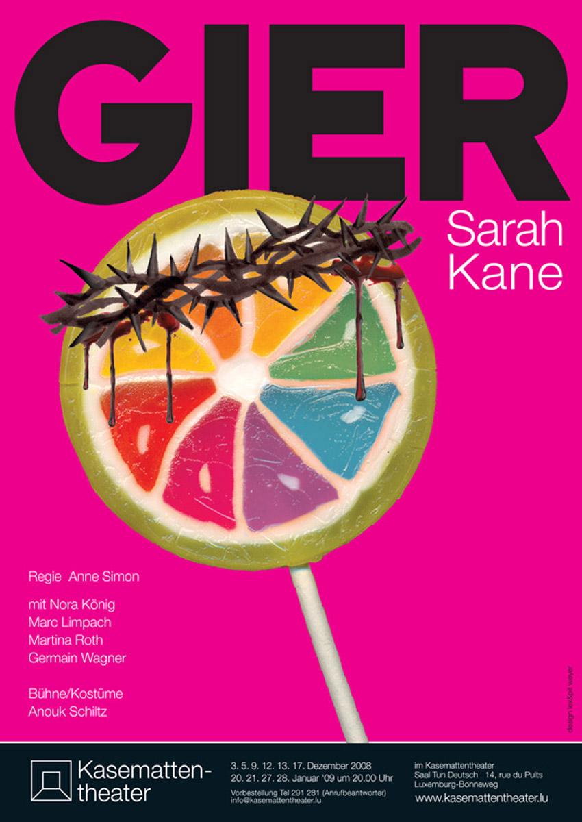 Plakat GIER von Sarah Kane 2008 Lex Weyer
