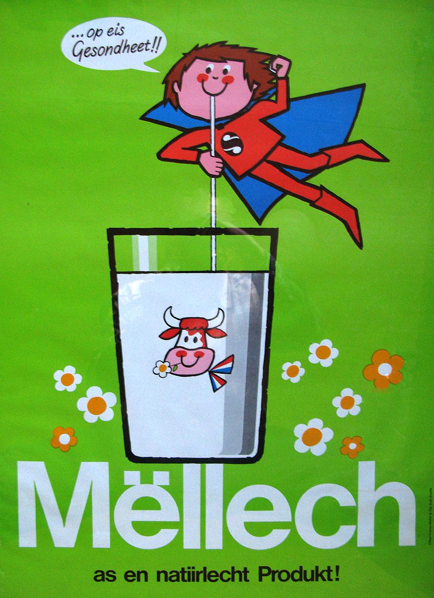 Affiche Mellech Luxlait 1984 Pit Weyer