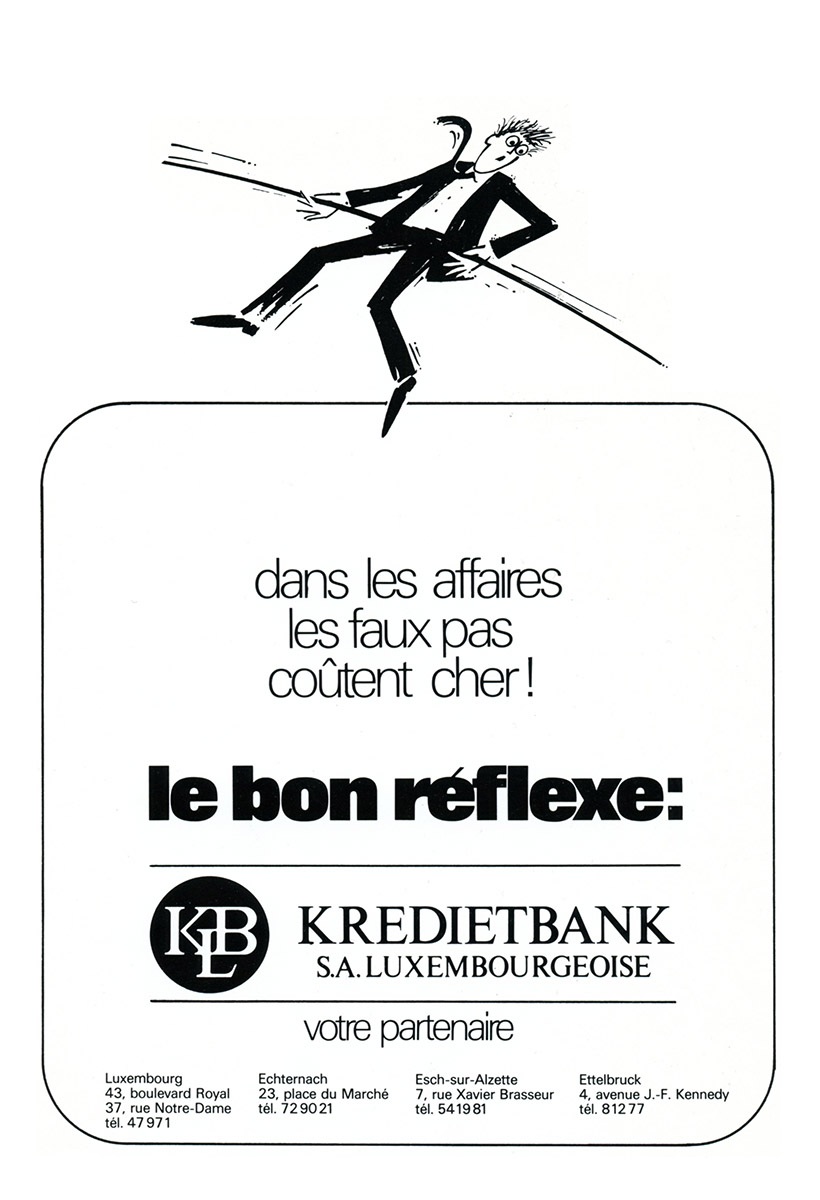 Annonce Kredietbank Luxembourg 1988 Lex & Pit Weyer