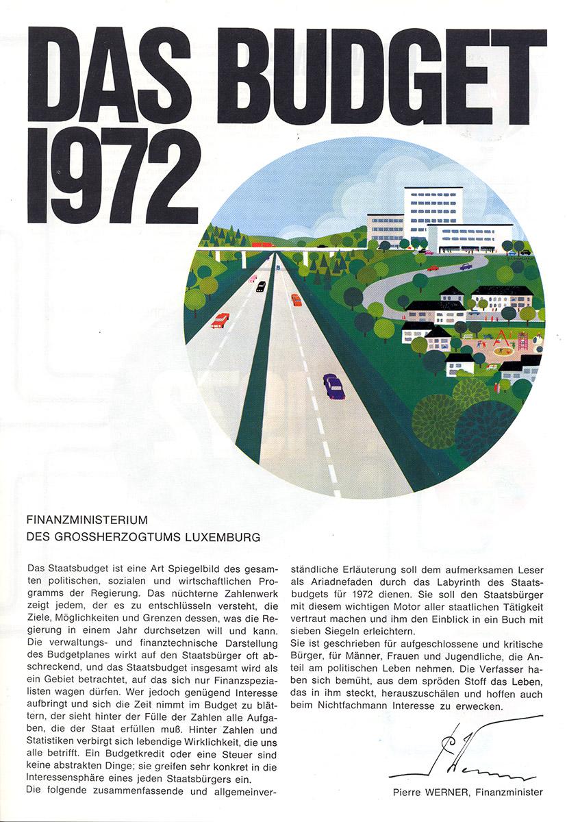 Brochure Budget de l'Etat luxembourgeois 1972 Lex & Pit Weyer