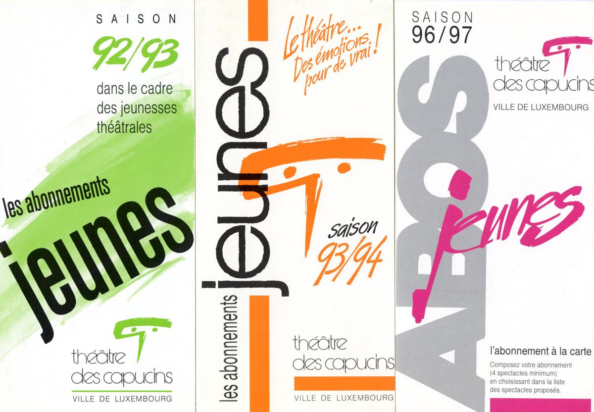 Programme Théâtre des Capucins programmation jeunes 1992 et 1993 et 1996