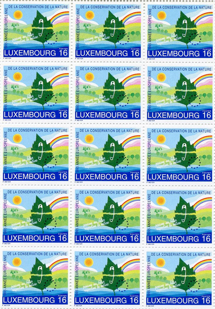Timbre poste Europa 1995 Année européenne de la conservation de la Nature Luxembourg Pit Weyer