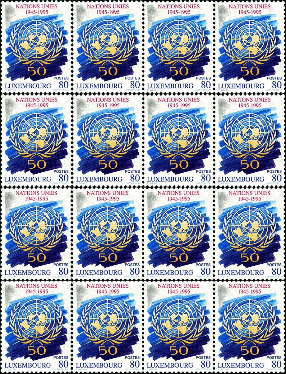 Timbre postal 1995 Luxembourg Nations Unies 1945-1995 Pit Weyer