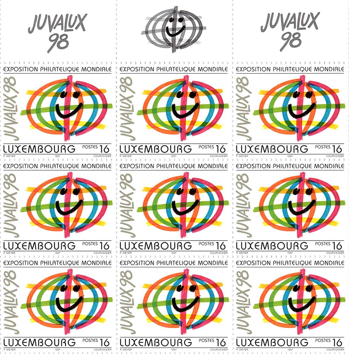 Timbre JUVALUX 98 Luxembourg 1998 Exposition Philathélique mondiale Pit Weyer
