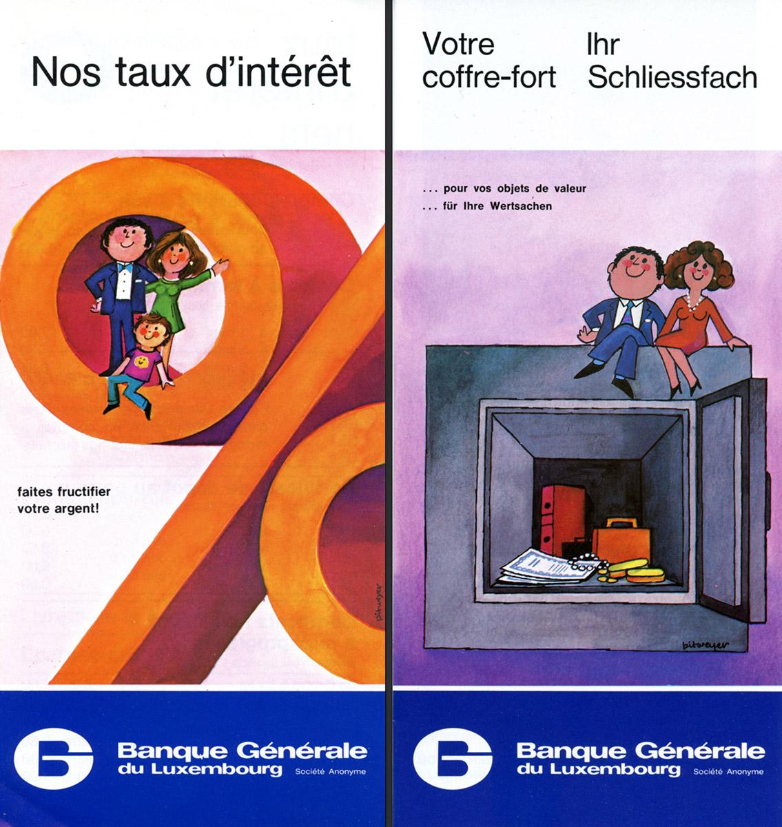 Dépliants BGL Banque Générale de Luxembourg Lex & Pit Weyer