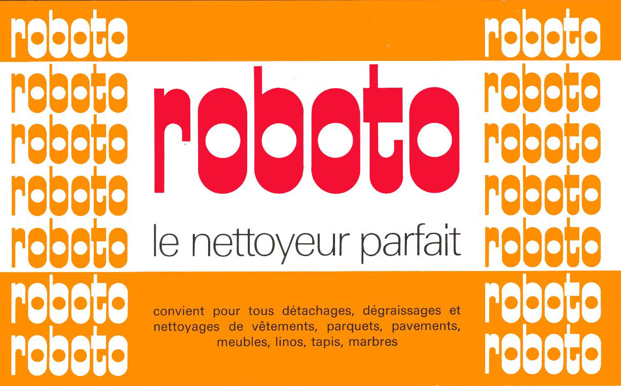 Logo et packaging Roboto 1973