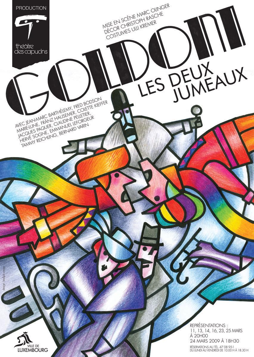Affiche Plakat Théâtre des Capucins 2009 Goldoni les deux jumeaux Lex & Pit Weyer