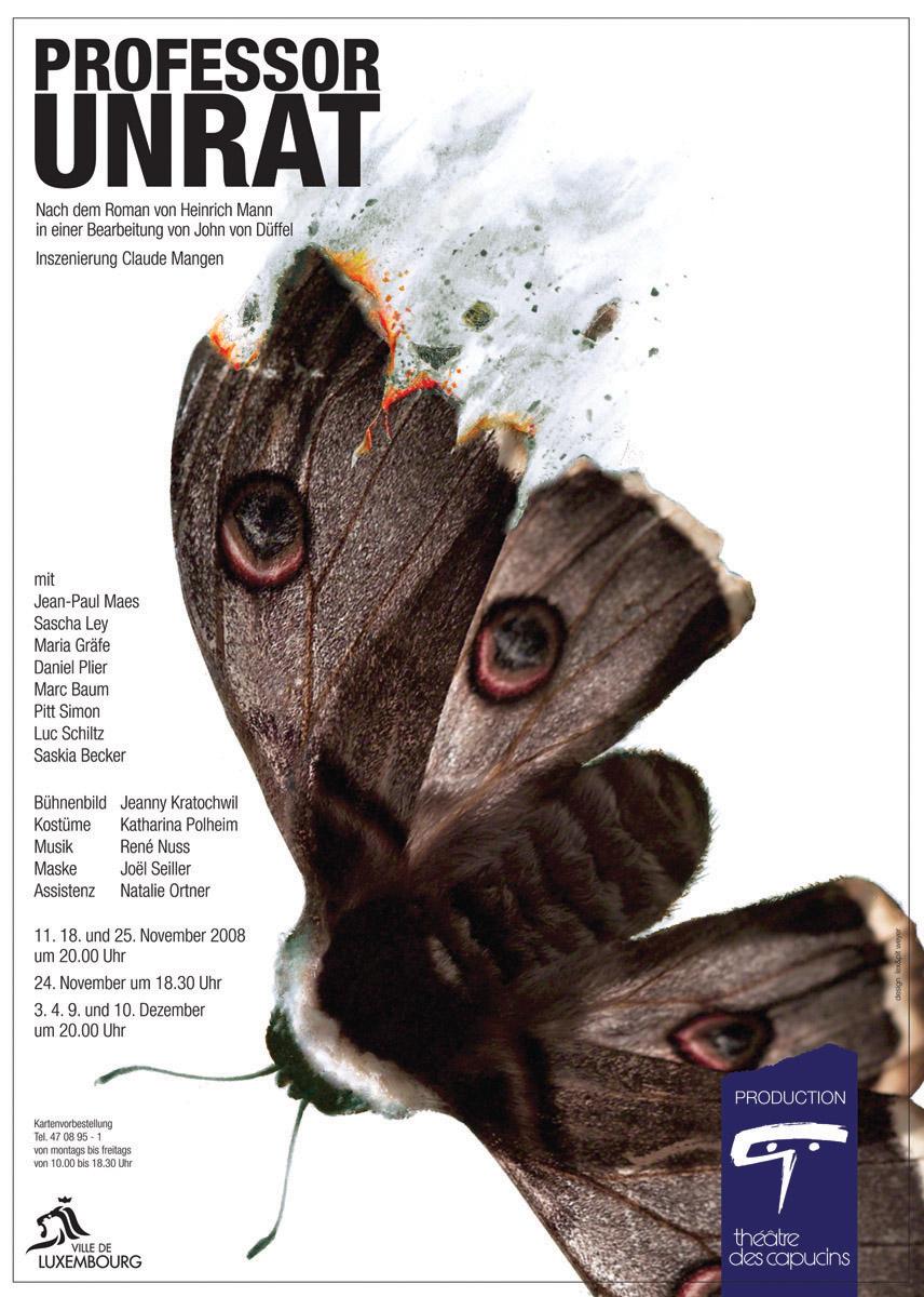 Affiche Plakat Professor Unrat Théâtre des Capucins 2008 Lex & Pit Weyer