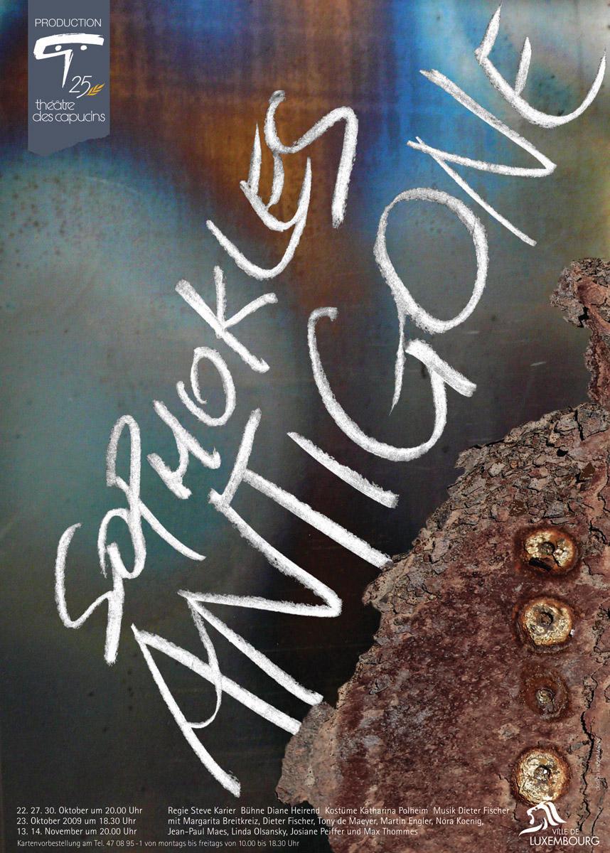 Affiche Plakat Antigone de Sophokles Théâtre des Capucins 2009