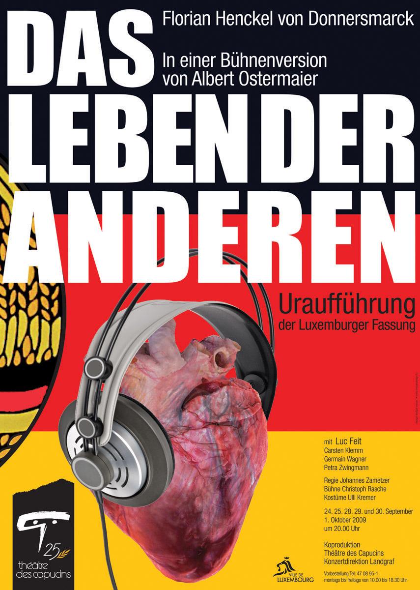 Plakat Das Leben der Anderen von Florian Henckel von Donnersmarck 2009 Théâtre des Capucins Lex Weyer