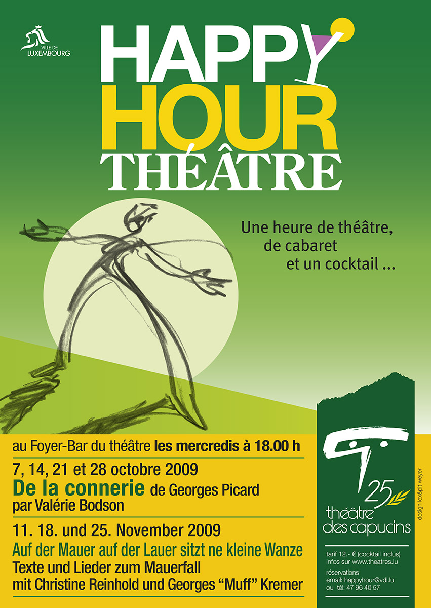Affiche Plakat Happy Hour Théâtre au théâtre des capucins Illustration Lex Weyer junior