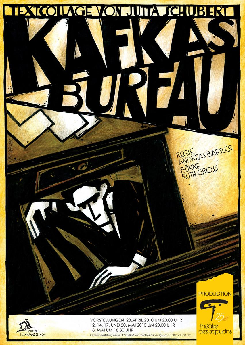 Affiche Plakat Kafkas Bureau Textcollage von J. Schubert Théâtre des Capucins 2010 Lex & Pit Weyer