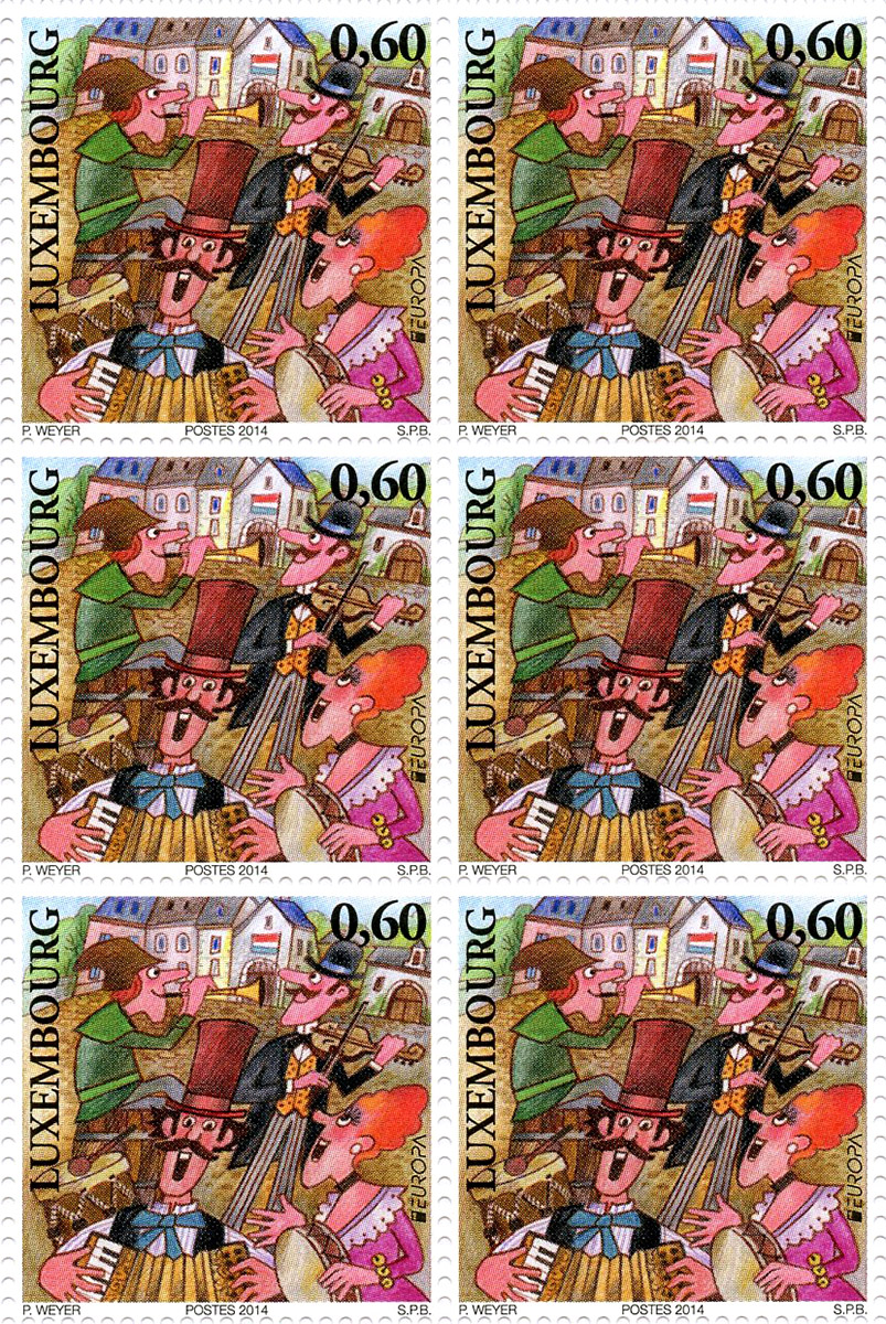 Timbres postales Europa 2014 Luxembourg Traditionnel Musék Pit Weyer