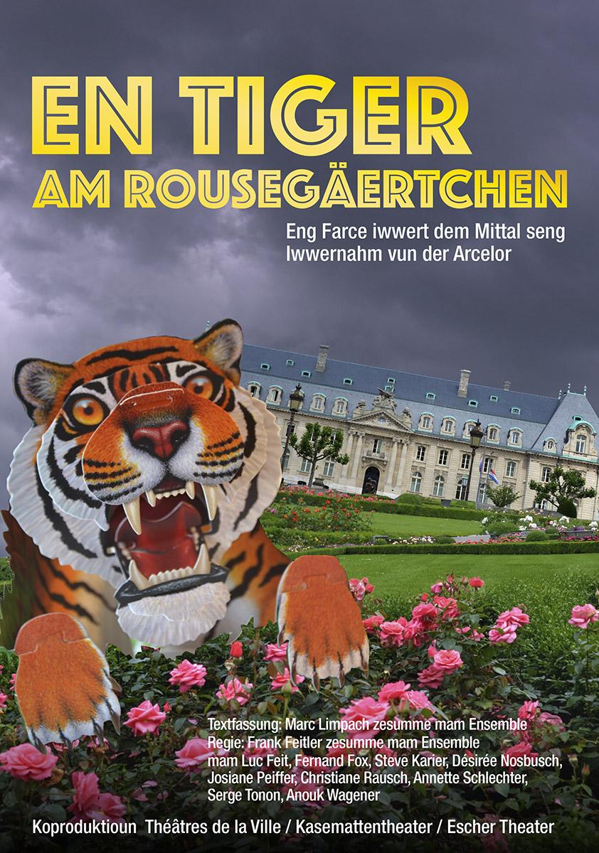 Affiche En Tiger am Rousegäertchen Text Marc Limpach 2016