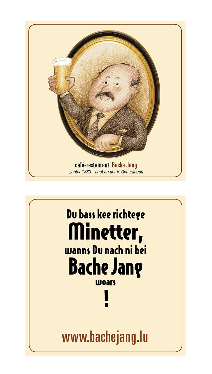 Bache Jang Logo et papiers d'affaire et carte de menu 2016
