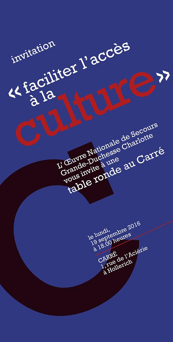 Invitation Table Ronde Faciliter l'accès à la culture organisé par Oeuvre Grande-Duchesse Charlotte 2016