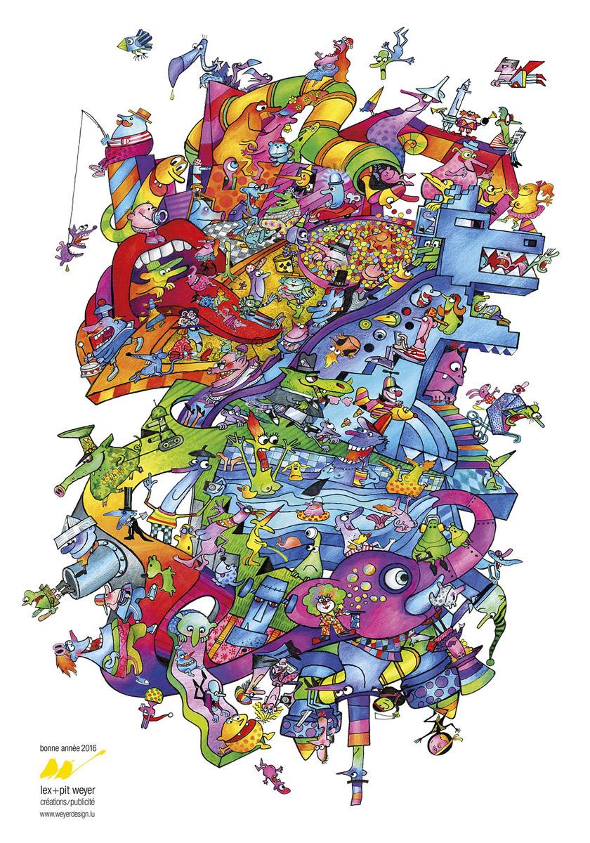 Affiche Bonne Année 2016 Lex & Pit Weyer graphic design illustration
