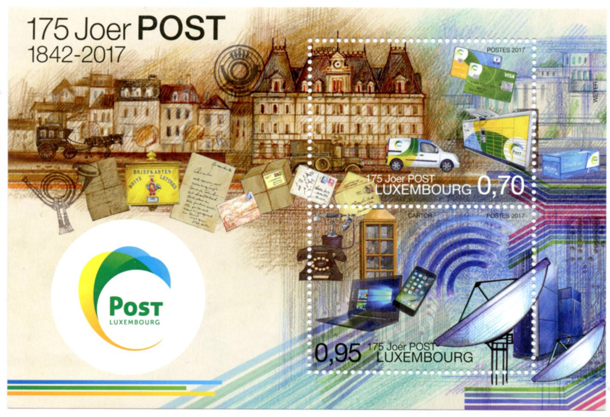 Timbre postal Luxembourg 2017 175 Joer Post Lex & Pit Weyer