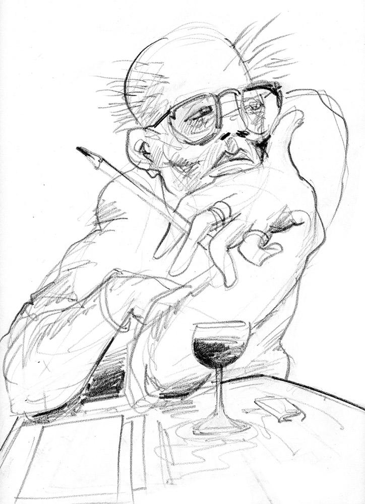 L'écrivain, dessin pour les cahiers luxembourgeois 2018