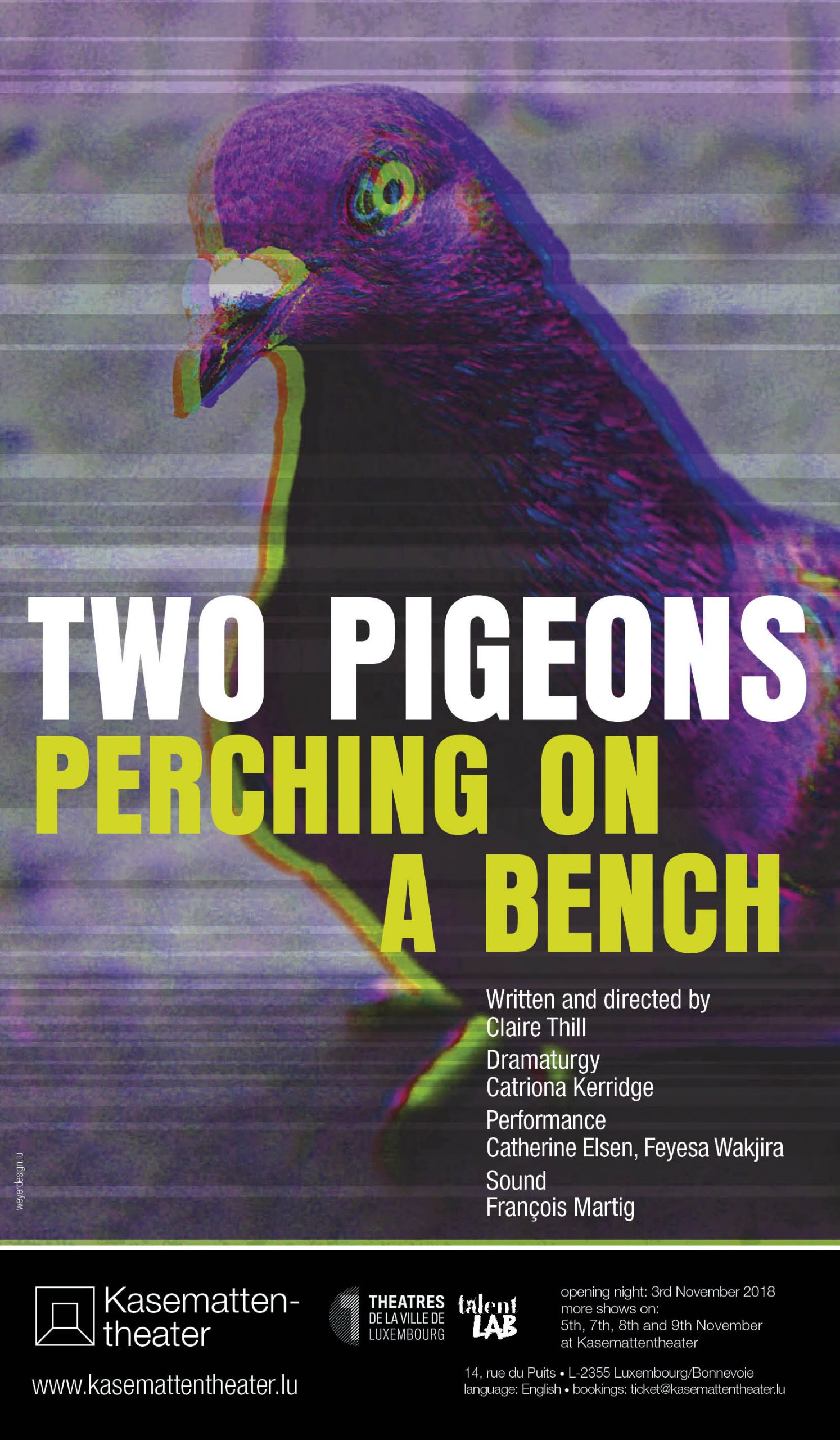 2018 Affiche Two Pigeons perching on a bench 2018 in the Kasemattentheater
